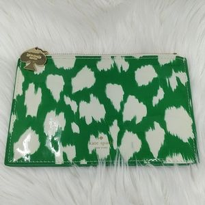 Kate Spade Patent Cream Green Gold Hardware Pouch